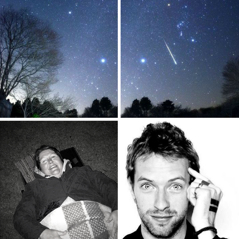 Perseid Meteor Shower, Chris Martin & ME!