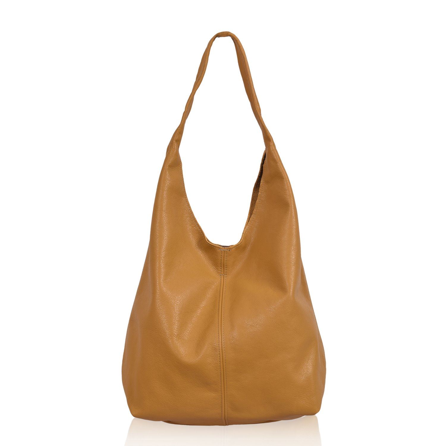 Leather Shoulder Bag - Pocket Slouch