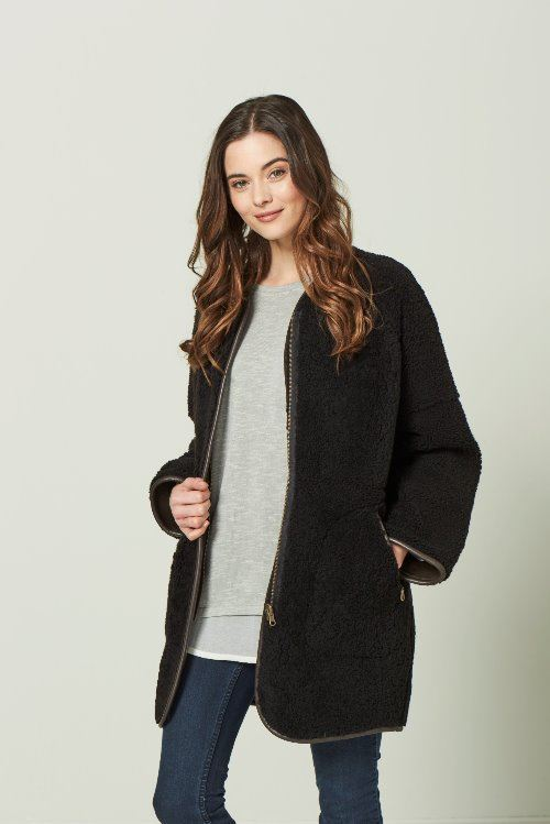 Reversible Sheepskin Zipper Coat Dark Brown - Tegan