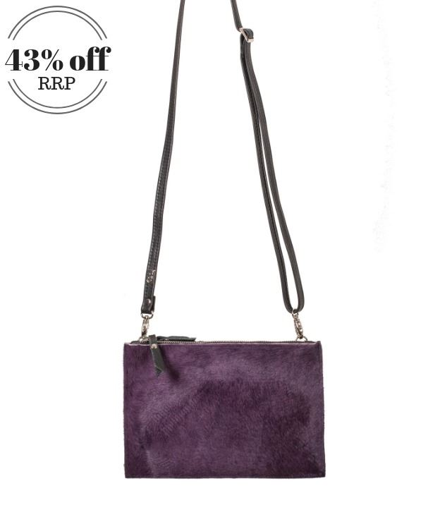 Cowhide Crossbody/Clutch Bag Grape - Thermus