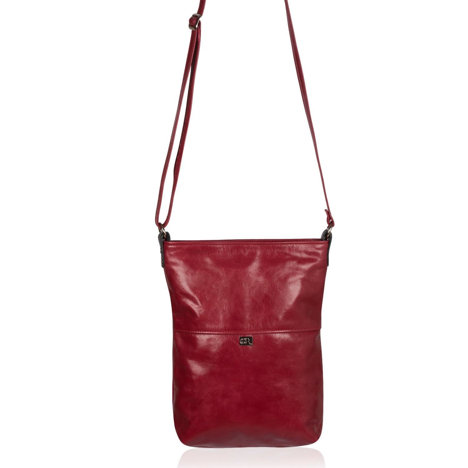 Leather Crossbody Bag Red - Ronson