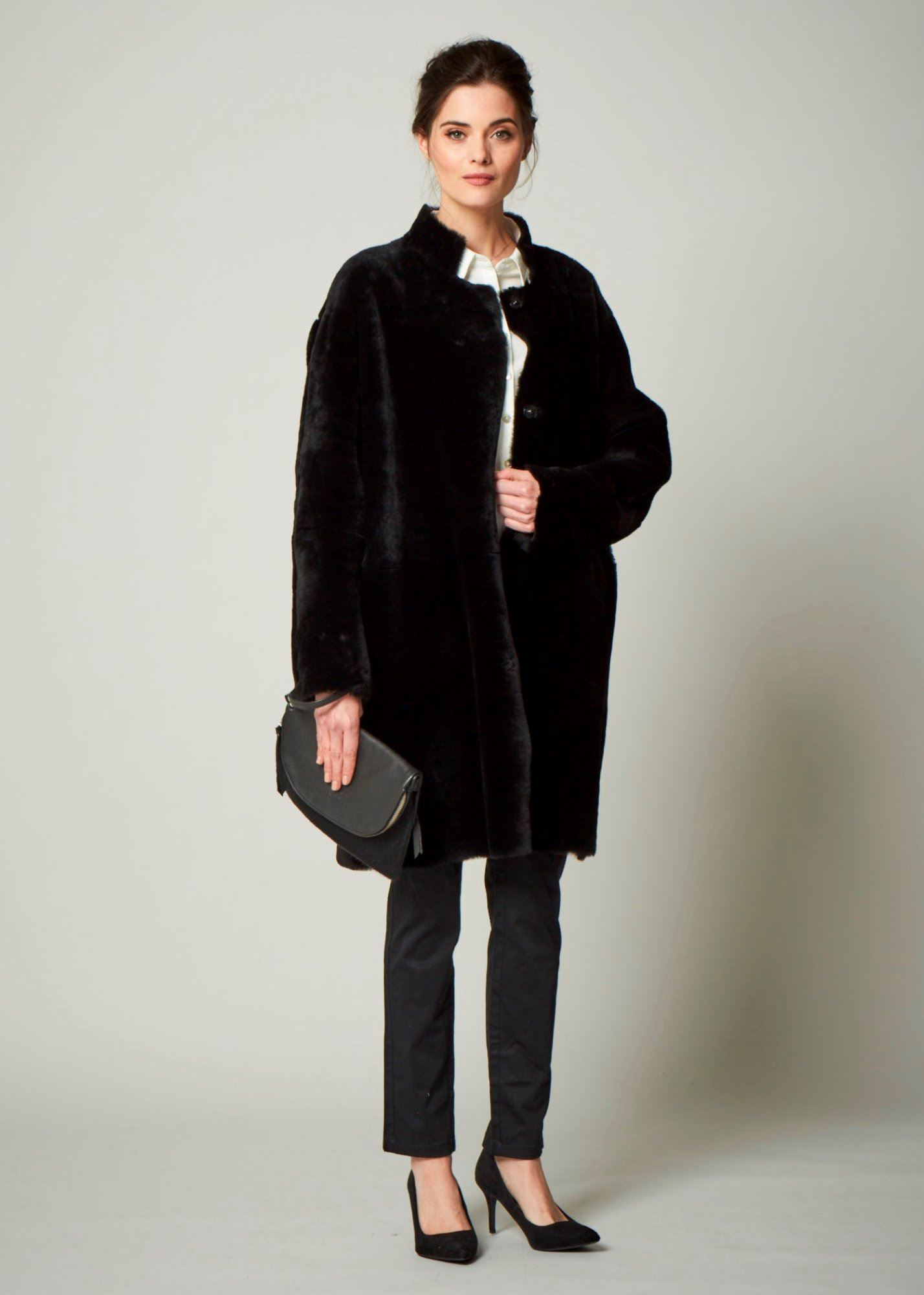 Reversible Sheepskin Jacket Black - Orla Long