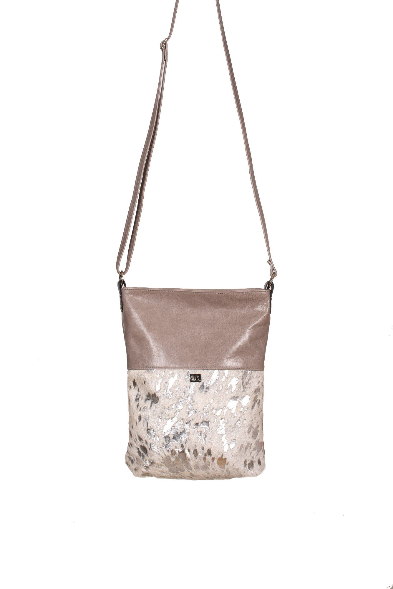 Cowhide Crossbody Bag Silver Acido - Ronson