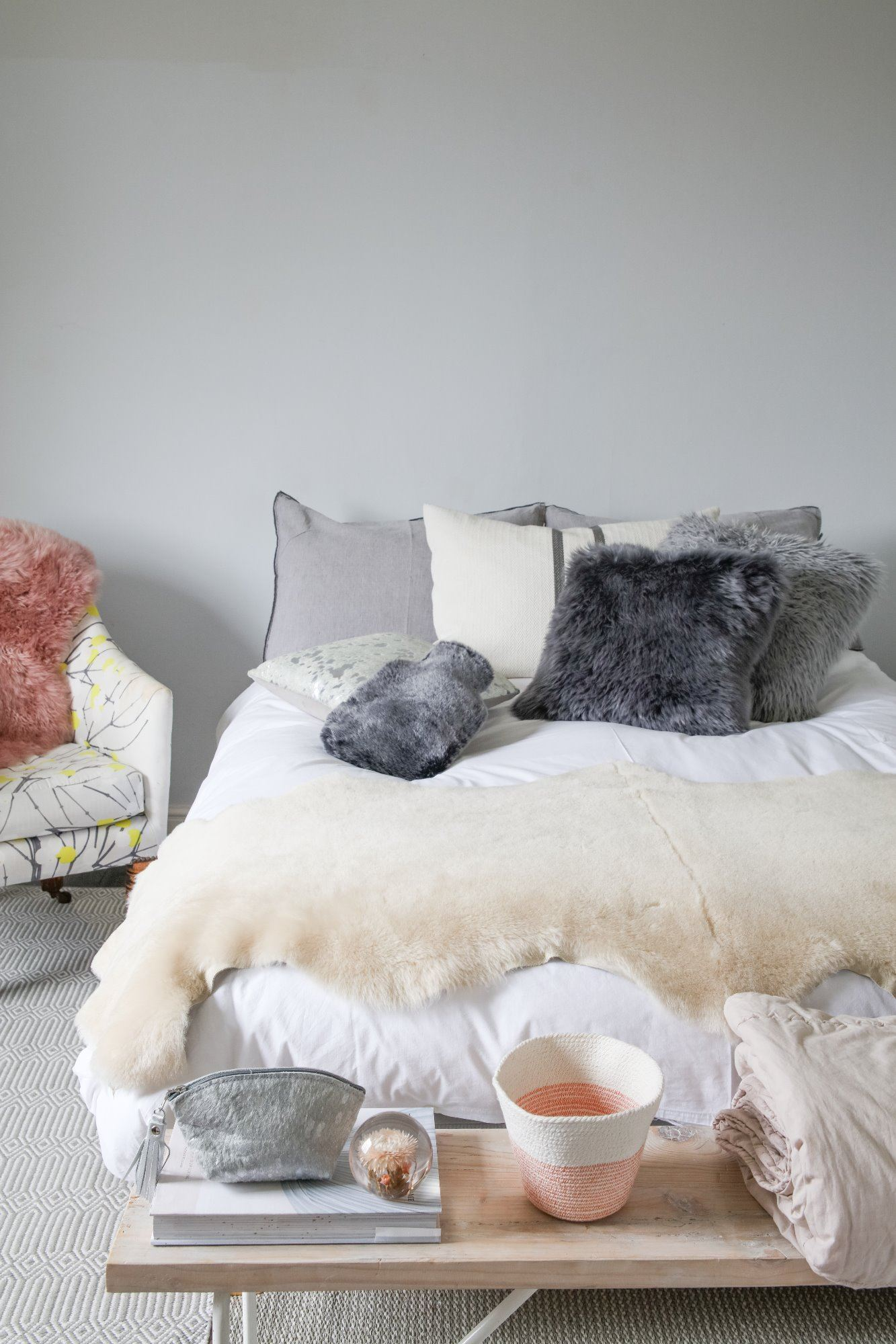 Double Sheepskin Bed Throw - UK Domestic