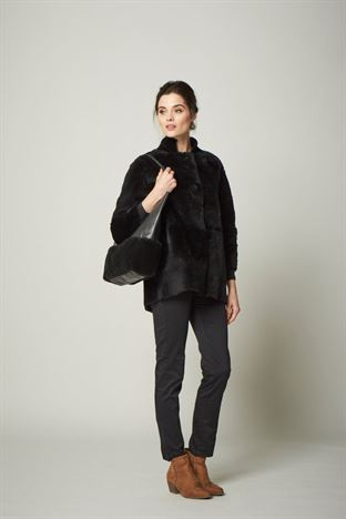 Sheepskin Leather Tote Bag Black - Iliana