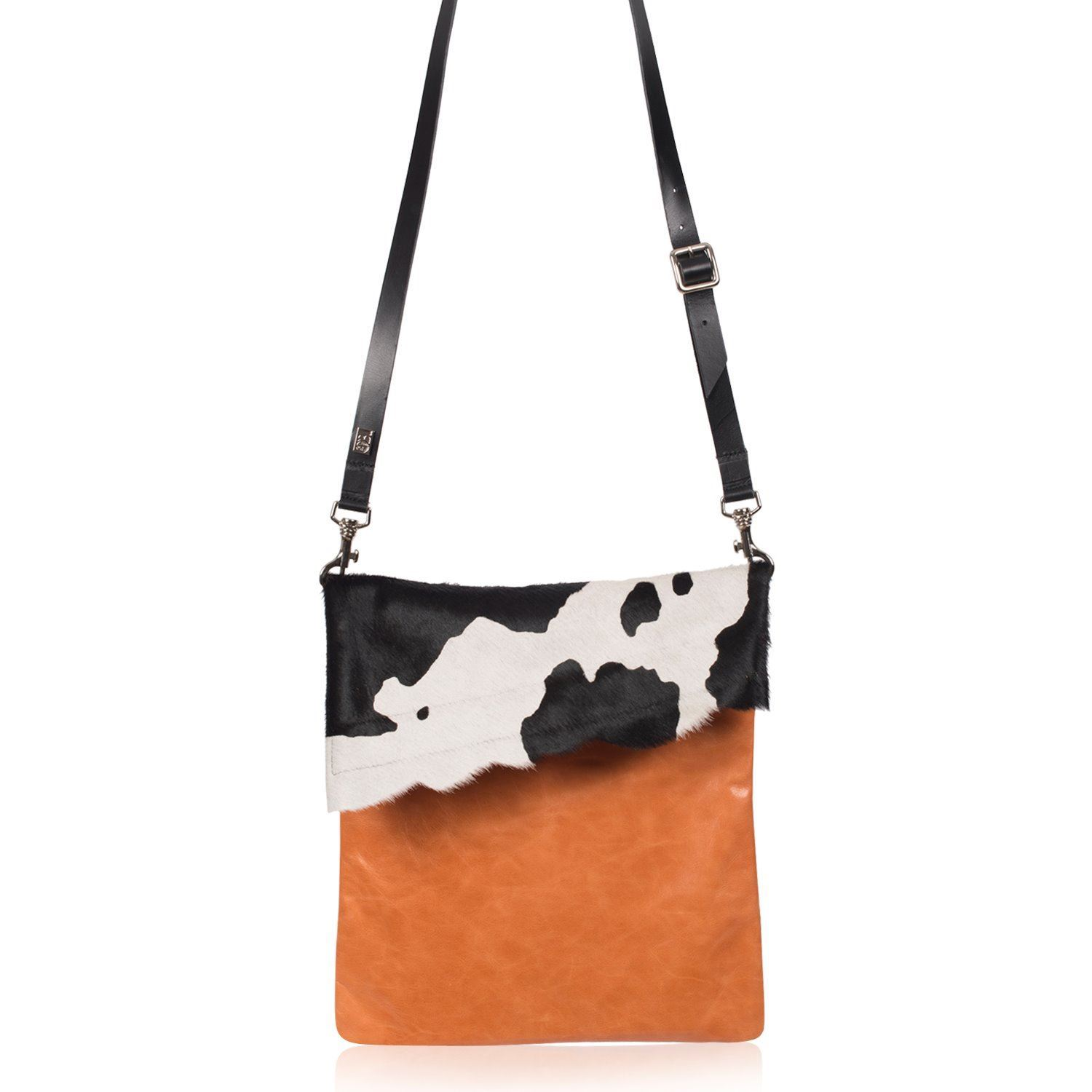 Cowhide Crossbody Bag Black Splash - Large Francine