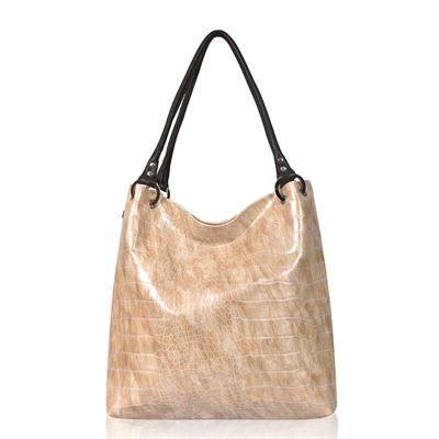 Leather Shoulder Bag Beige Croc - Dudley
