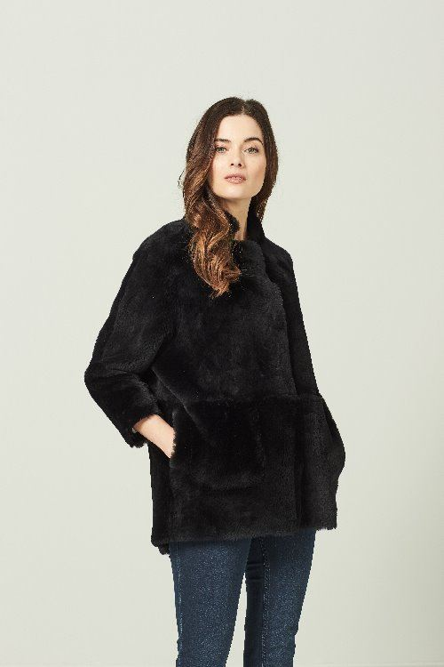 Reversible Sheepskin Jacket Black - Orla