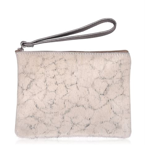 Cowhide Clutch Purse Ivory - Minnie