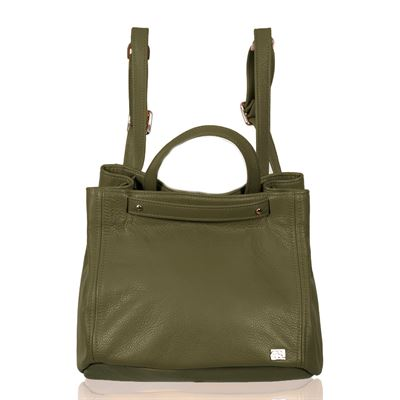 Leather Backpack/Shoulder Bag Olive - Collins