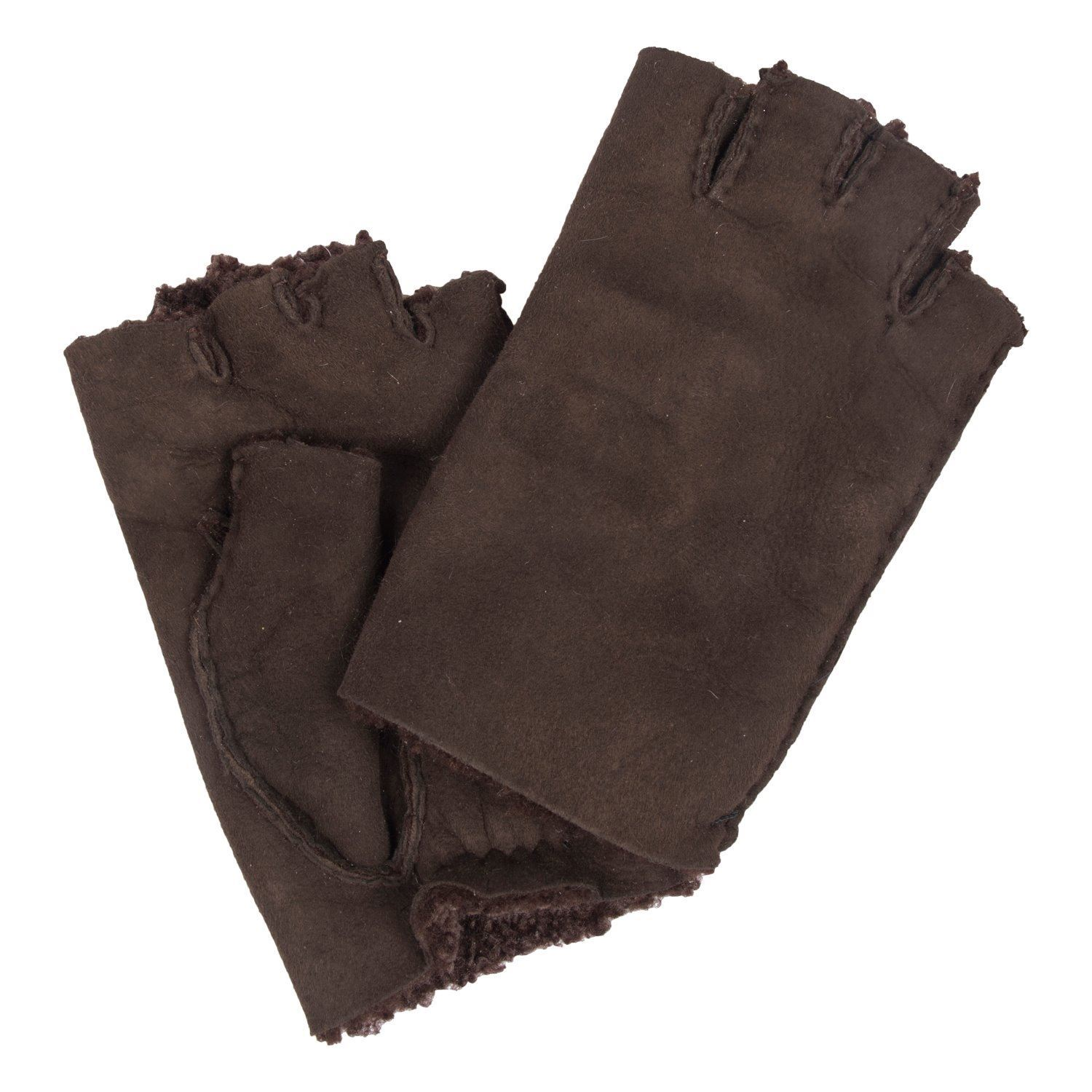 Sheepskin Fingerless Gloves Womens
