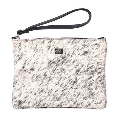 Cowhide Clutch Purse White Black Fleck M5 - Minnie