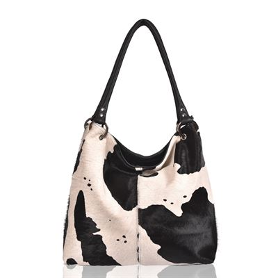 Cowhide Shoulder Bag Black Splash - Coxley RRP £249