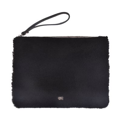 Sheepskin Clutch Purse Black - Bambi