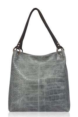 Leather Shoulder Bag Aqua Croc - Dudley