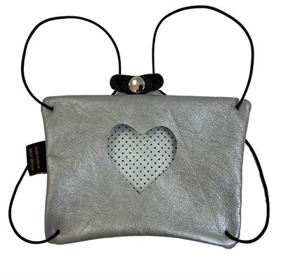 Leather Facemask Silver - Heart