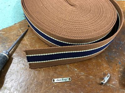 Poly Cotton Mix Striped Webbing 45mm Tan and Navy