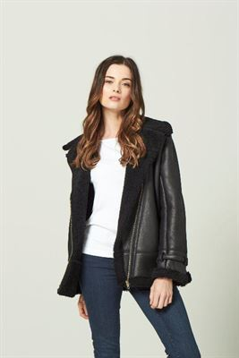 Sheepskin Aviator Jacket Black - Maya