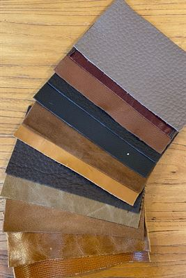 Leather Tans Assortment Panel Pieces 8 cms x 15 cms Pack of 12