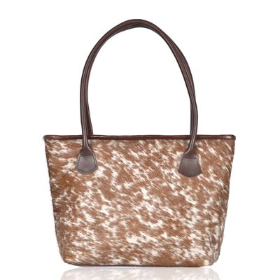 Cowhide Tote/Shoulder Bag Natural Fleck Hurdler N1