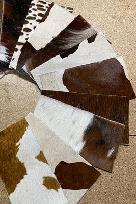 White and Browns Cowhide Assortment Panel Pieces 8 cms x 15 cms Pack of 12