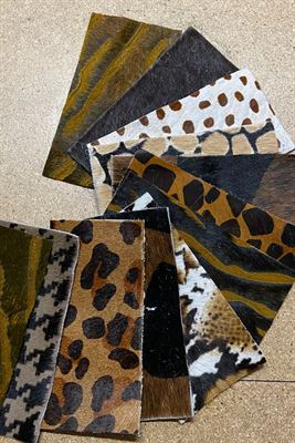 Tan and Black Cowhide Assortment Panel Pieces 8 cms x 15 cms Pack of 12
