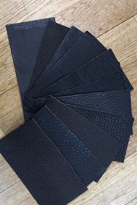 Leather Black Assortment Panel Pieces 8 cms x 15 cms Pack of 12