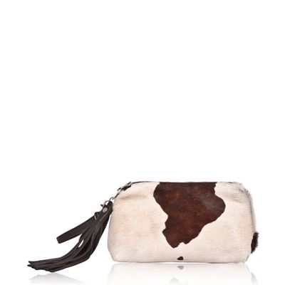 Cowhide Clutch/Handbag Tidy Brown Splash- Tigres