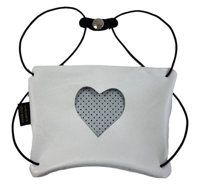 Leather Facemask White - Heart