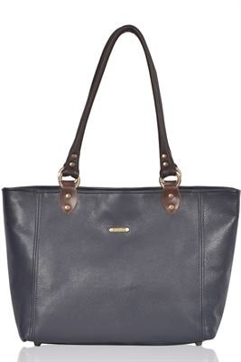 Leather Tote Bag Classic Navy - Polly