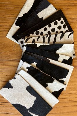 White and Black Cowhide Assortment Panel Pieces 8 cms x 15 cms Pack of 12