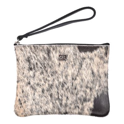Cowhide Clutch Purse White/Black Fleck M6 - Minnie