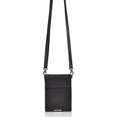 Leather Mini Crossbody/Wallet Black - Fogel
