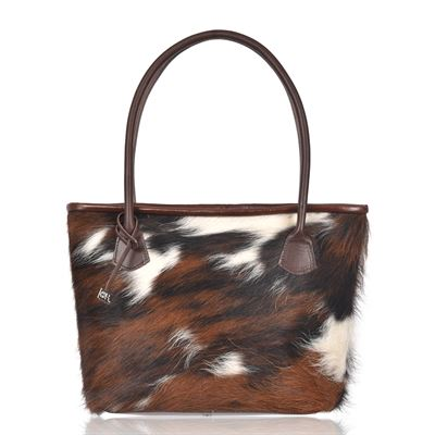 Cowhide Tote/Shoulder Bag Tricolour- Hurdler N12