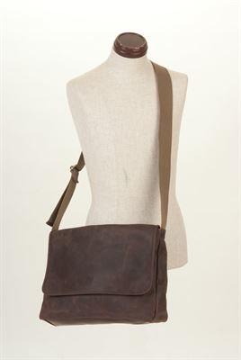 Leather Messenger Crossbody Bag Iroko - Alex