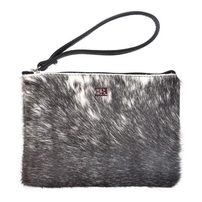 Cowhide Clutch Purse White Black Fleck M2 - Minnie