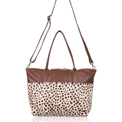 Cowhide Tote/Crossbody Bag Brown Ciga - Fibbel RRP £259