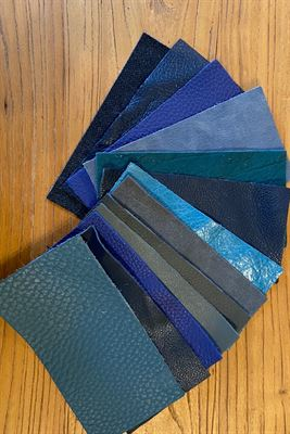 Leather Blues Assortment Panel Pieces 8 cms x 15 cms Pack of 12