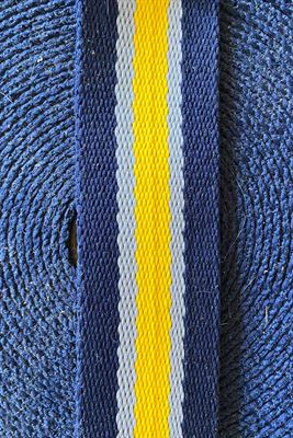 Poly Cotton Mix Striped Webbing 35mm Navy Yellow