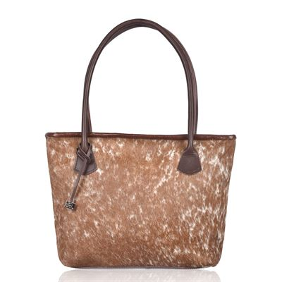 Cowhide Tote/Shoulder Bag  Natural Fleck- Hurdler N2