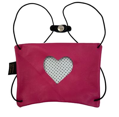 Leather Facemask Fuchsia - Heart