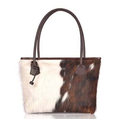 Cowhide Tote/Shoulder Bag  Tricolour  Hurdler N16