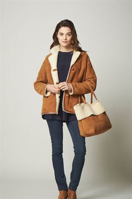 Sheepskin Tote Bag Brandy Cream - Chiltern