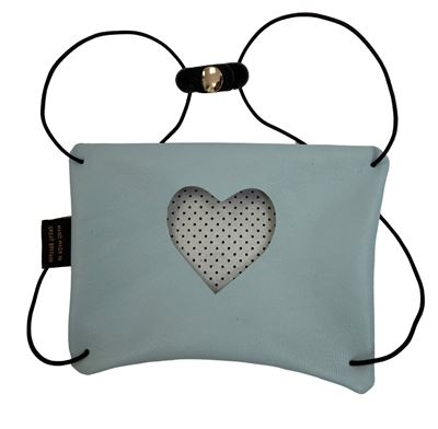 Leather Facemask Sky Blue - Heart