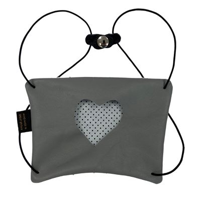 Leather Facemask Grey - Heart