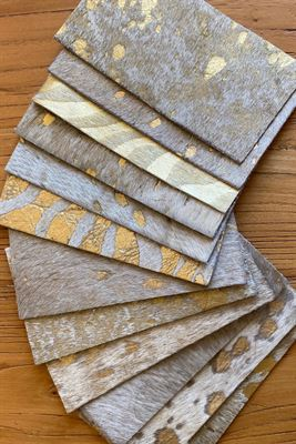 Metallic Gold Cowhide Assortment Panel Pieces 8 cms x 15 cms Pack of 12
