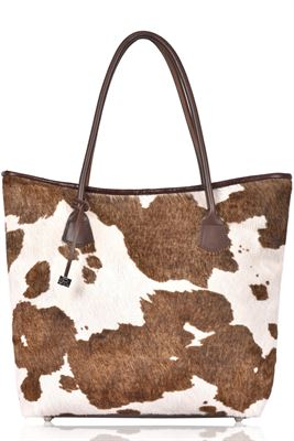 Cowhide Tote/Shoulder Bag Tan Splash - Barrington