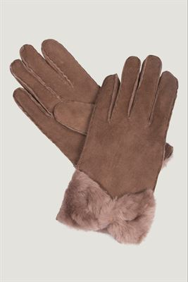 Ladies Bow Sheepskin Gloves