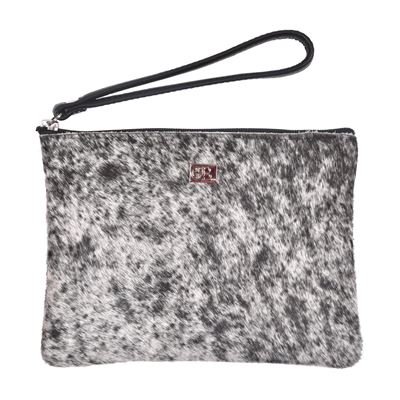 Cowhide Clutch Purse Grey Fleck M12 - Minnie