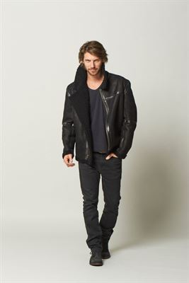 Classic Sheepskin Aviator Jacket Black